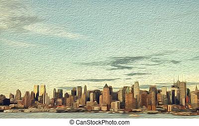 pintura al óleo, vibrante, ciudad nueva york, tarde, tarde, estados unidos de américa