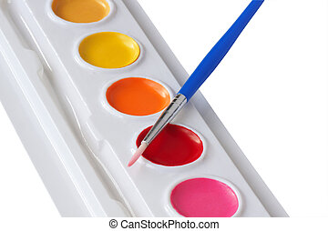 pintura aquarela, e, brush.
