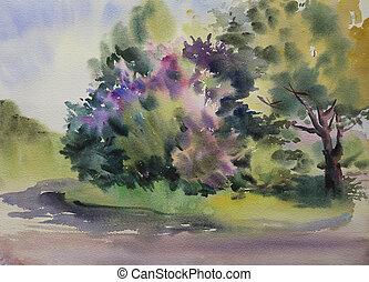 pintura aquarela, floresta