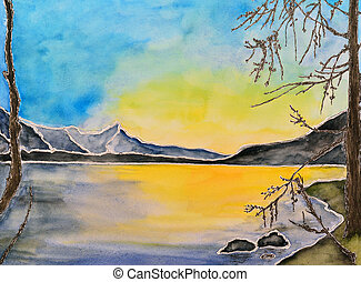 pintura aquarela, lago