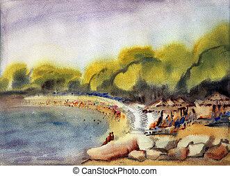 pintura aquarela, mar, praia