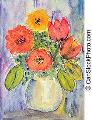 pintura aquarela, tulips