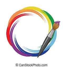 pintura, arco íris, escova, experiência.