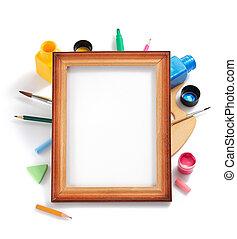 pintura, arte fornece, branco, fundo