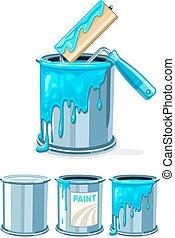 pintura azul, baldes, quadro, rolo