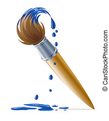 pintura azul, quadro, gotejando, escova