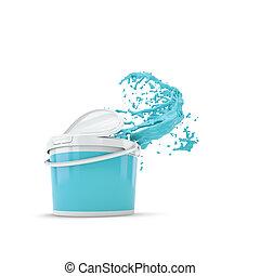 pintura azul, respingue, saída, de, plástico, can., sobre, branca