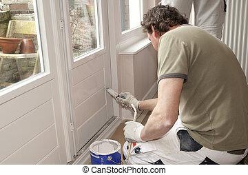 pintura, blanco, puerta