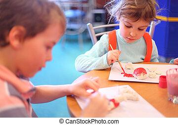 pintura, brinquedos, crianças, argila