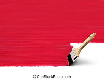 pintura, brocha, rojo, área