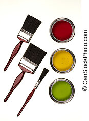 pintura, -, brochas, aislado, emulsión