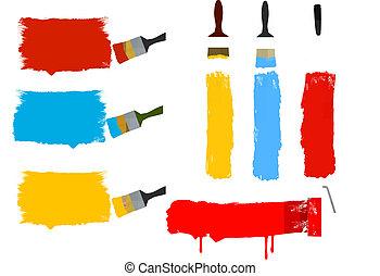 pintura, brushe, conjunto, rodillo, colorido