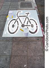 pintura, carril, bicicleta