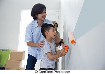 pintura, casa, hijo, su, nuevo, papá