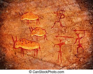 pintura, cazadores, cueva, ilustración, digital