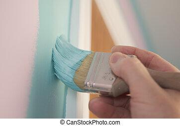 pintura, cepillo, painter's, mano
