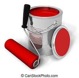 pintura, cepillo rojo, rodillo, lata