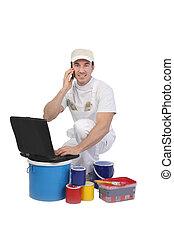 pintura, computador portatil, latas, decorador