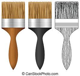 pintura, conjunto, cepillo