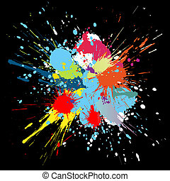 pintura, cor, splashes., gradiente, vetorial, fundo