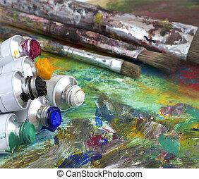 pintura, cores, e, escovas, ligado, paleta artista