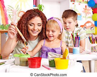 pintura criança, em, easel.