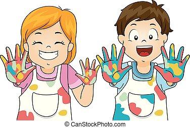 pintura, crianças, ilustração, mão