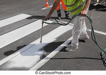 pintura, crosswalk, reparación
