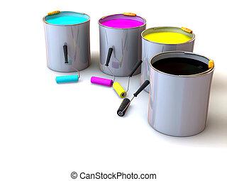 pintura, cubos, rodillos, cepillo