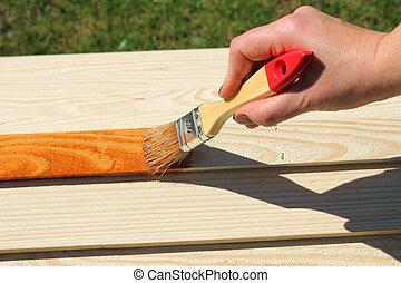 pintura, de madera, muebles, pedazo
