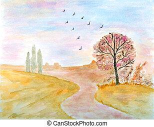 pintura del watercolor, otoñal, paisaje