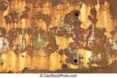 pintura descascando, e, metal enferrujado