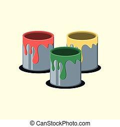 pintura, desenho, latas