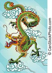 pintura, dragón chino
