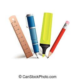 pintura, e, escrita, ferramentas, cobrança