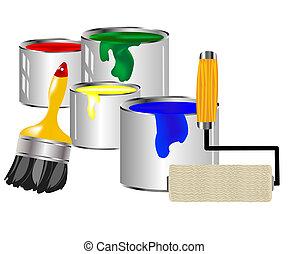 pintura, e, ferramentas pintura