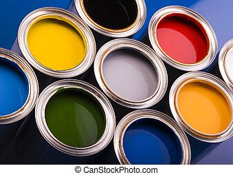 pintura, e, latas