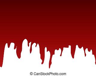 pintura, escoando, vermelho