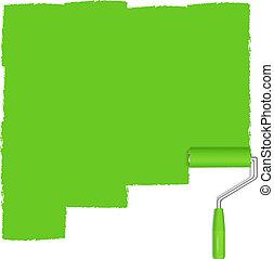 pintura, fondo verde, rodillo