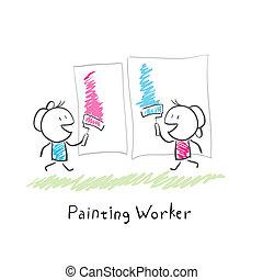 Pintura, gente, Ilustración, dos, rodillos