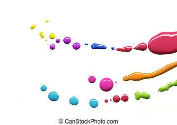 pintura, gotas, multicolor