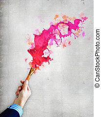 pintura, humano, cepillo, llevar a cabo la mano