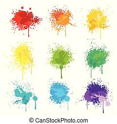 pintura, isolado, splat, branca, vetorial, fundo