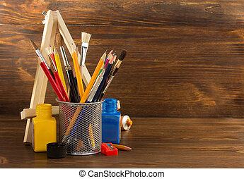 pintura, madeira, materiais