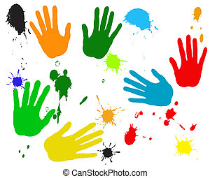 pintura, mancha, mãos