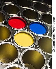 pintura, marco, lleno, latas