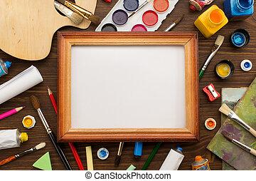 pintura, materiais, e, escova, ligado, madeira