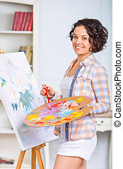 pintura, mujer, picture., joven