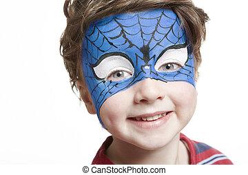 Pintura, niño,  Superhero, joven, cara