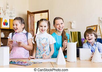 pintura, niños, dibujo
